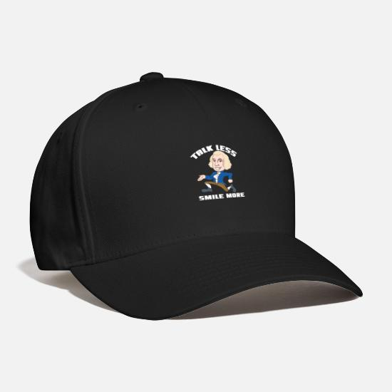 Politics Caps - Talk Less Smile More Alexander Hamlton Quote Gift - Baseball Cap black