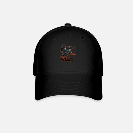 Weed Caps - pig smoking weed - Baseball Cap black
