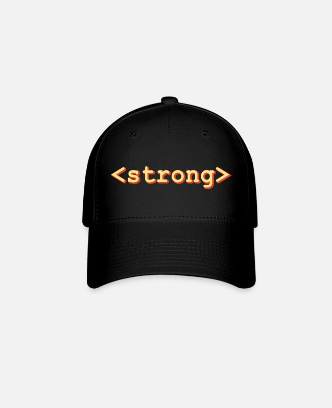 Coder Caps & Hats - HTML Strong Tag web designer developer - Baseball Cap black