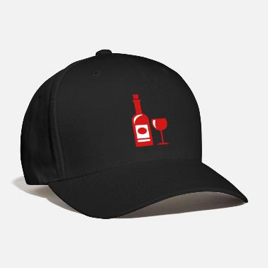 Red Wine wine bottle - wine glass - Baseball Cap