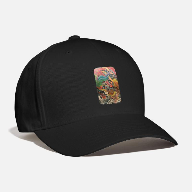 Japanese Caps - Japanese art t-shirt poloshirt - Baseball Cap black