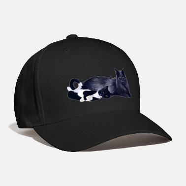 BLACK MOMMY CAT WITH TUXEDO KITTEN - Baseball Cap