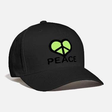 Heart Red heart Peace symbol txt  - Baseball Cap