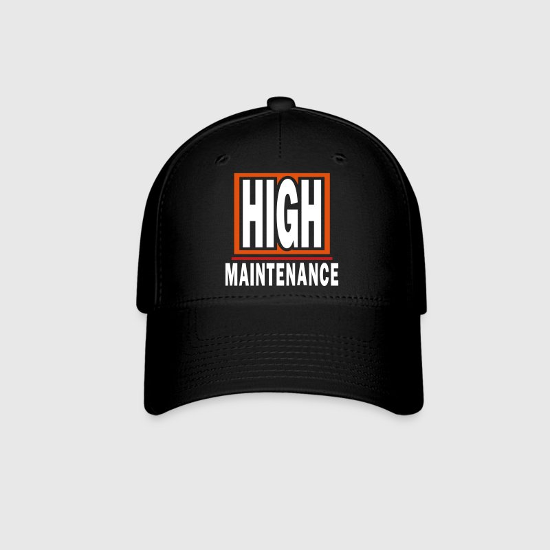 High Maintenance With Background And Outline - Baseball Cap