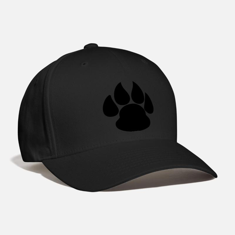 Dog Caps - Paw Print HD VECTOR - Baseball Cap black