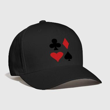 Poker all four suits club diamond heart and spade poker design - Baseball Cap