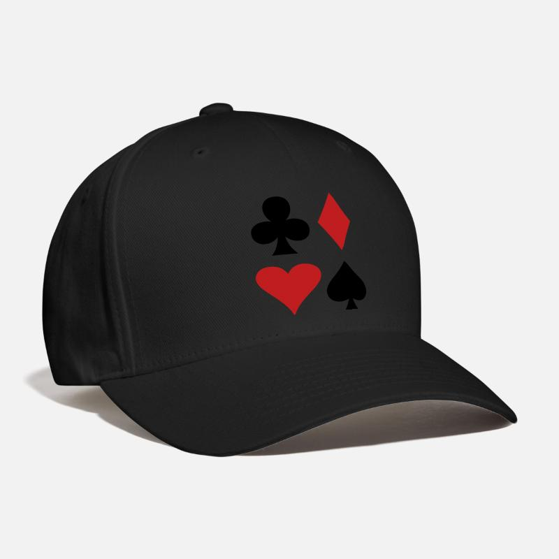 Spade Caps - all four suits club diamond heart and spade poker design - Baseball Cap black