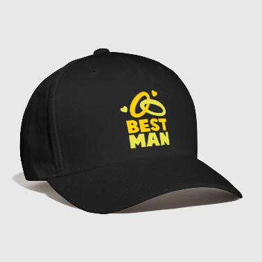 BEST MAN with rings and love hearts - Baseball Cap