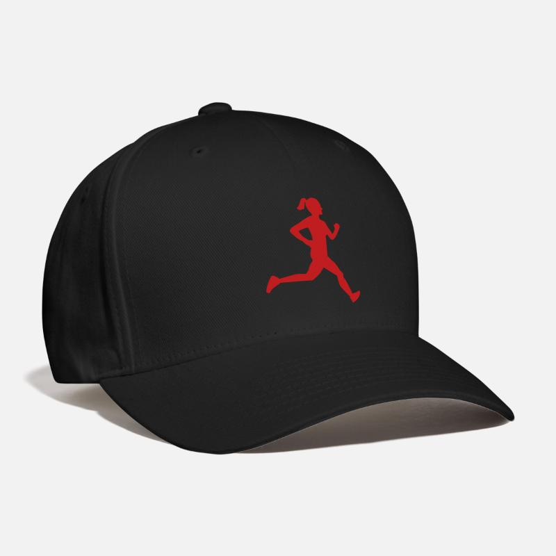 Marathon Caps - Girl Runner Silhouette - Baseball Cap black