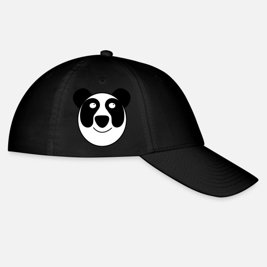 Funky Caps - panda face whole with a cute smile - Baseball Cap black