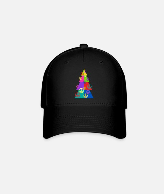 Holidays Caps & Hats - Rainbow Peace Tree - Baseball Cap black