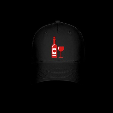 wine bottle - wine glass - Baseball Cap