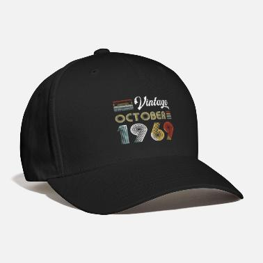 October Vintage October 1969 50th Birthday Retro 80s Style - Baseball Cap