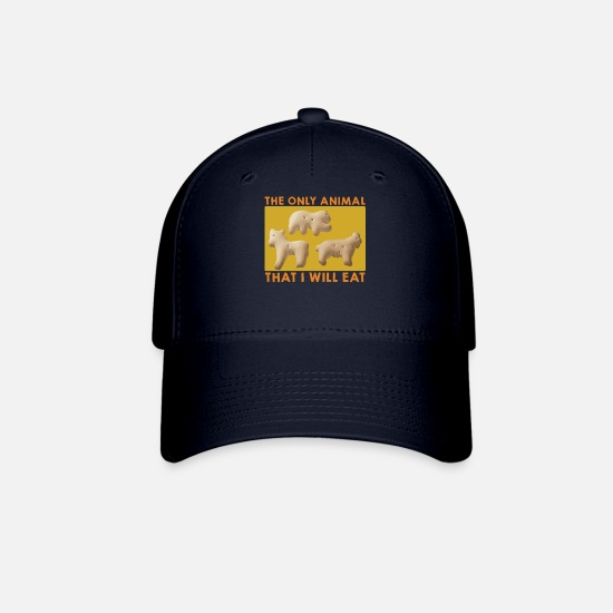 Animal Rights Activists Caps - The Only Animal I Will Eat Vegan Animal Cracker - Baseball Cap navy