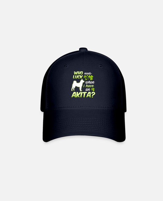 Grandpa Caps & Hats - Who needs luck when I have an Akita clover present - Baseball Cap navy
