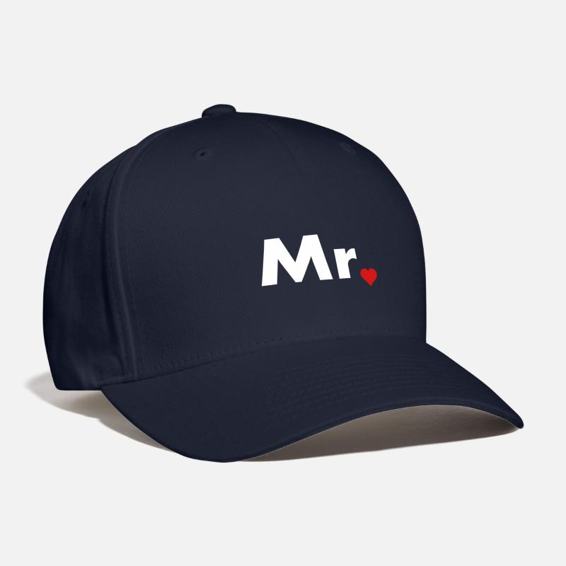 Couples Caps - Mr with heart dot - part of Mr and Mrs set - Baseball Cap navy