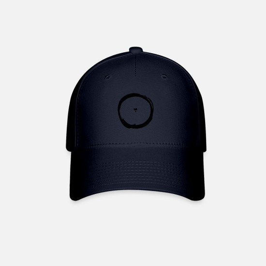 Circular Caps - circle black object shape timeless minimalism - Baseball Cap navy