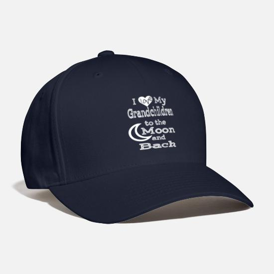 Grandchildren To The Moon And Back Gifts T Shirt Caps - I Love My Grandchildren To The Moon And Back Shirt - Baseball Cap navy