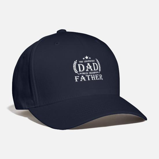 Just Call Dad T-Shirt Caps - The Legendary Dad World Champion Father T Shirt - Baseball Cap navy