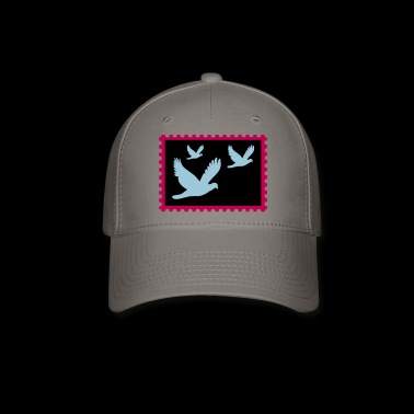 flying doves on a stamp - Baseball Cap