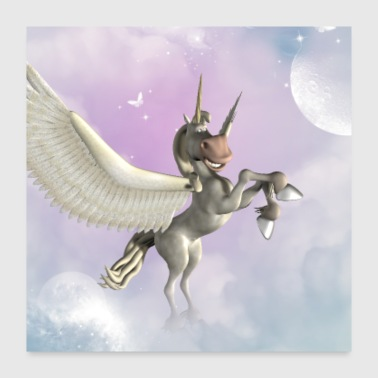 Cute little pegasus with butterflies - Poster 24x24