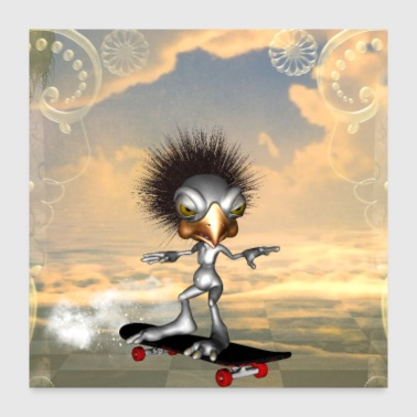 Funny bird with skateboard - Poster 24x24