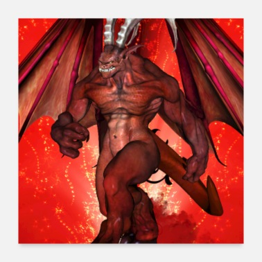 Creature Awesome creepy fantasy creature with wings - Poster