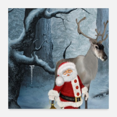 Merry Merry christmas Santa Claus with reindeer - Poster 24x24