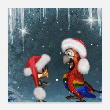 Merry Cute birds wishing Merry Christmas - Poster 24x24