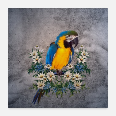 Bird Cute parrot with flowers - Poster 24x24