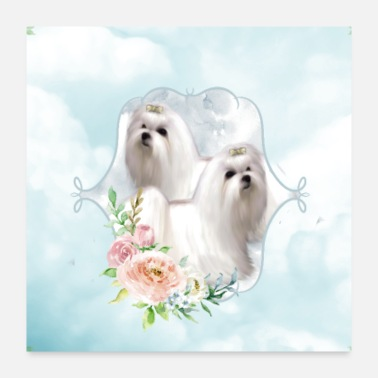 Little Cute little maltese with flowers - Poster 24x24