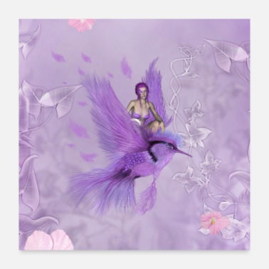 Mythology Wonderful fairy flying with a fantasy bird - Poster 24x24