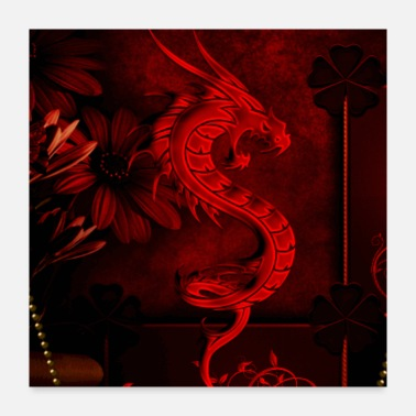 Chinese Wonderful red chinese dragon - Poster