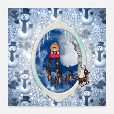Santa Claus Merry christmas, Santa claus with reindeer - Poster 24x24