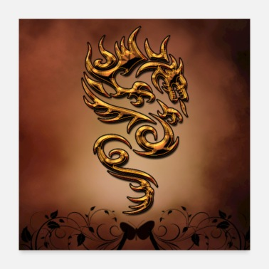 Element Awesome dragon with flroal elements - Poster 24x24