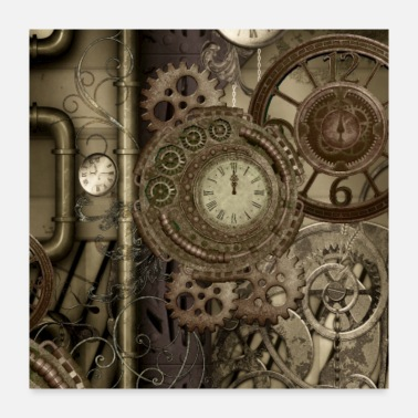 Clock Wonderful steampunk design with clocks and gears - Poster 24x24