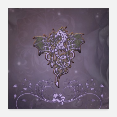 Fly Awesome dragon with floral elements - Poster 24x24
