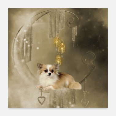 Dog Cute little chihuahua with hearts - Poster 24x24