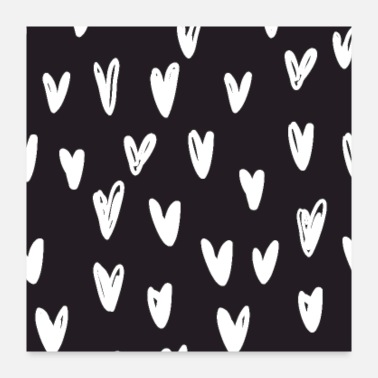 Pattern Heart hand drawn pattern - Poster 24x24