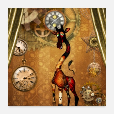 Clock Funny steampunk giraffe with clocks and gears - Poster