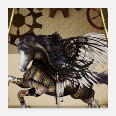 Wing Awesome steampunk unicorn with wings - Poster