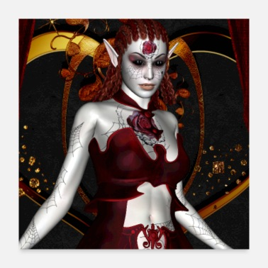 Mythology Awesome dark fairy with roses - Poster