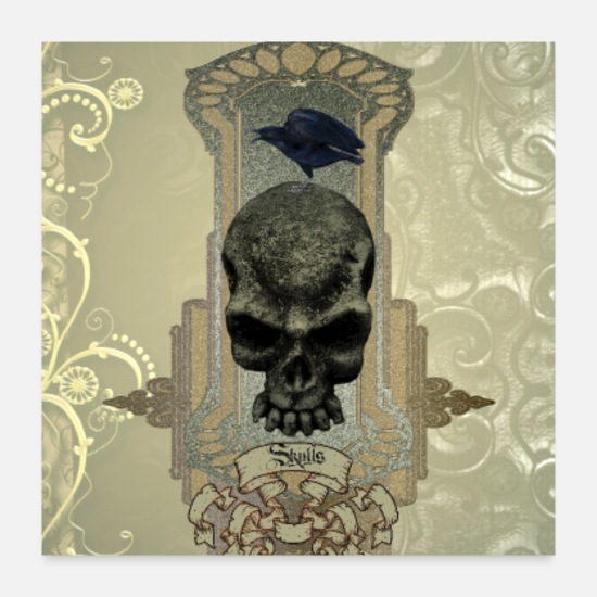 Vintage Posters - Awesome creepy skull - Posters white