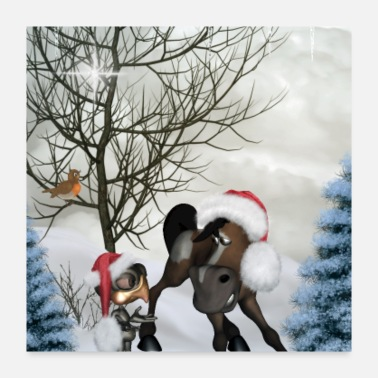 Funny Christmas Christmas funny bird and horse with christmas hat - Poster