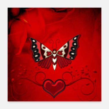 Decoration Awesome decorative butterflies with heart - Poster