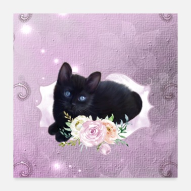 Black Cat cute little black ckitten - Poster