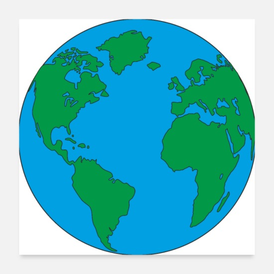 Earth Posters - Mother Earth home and blue planet with America - Posters white