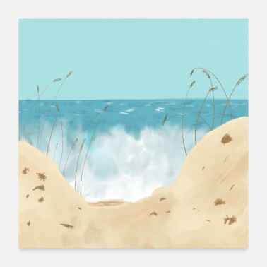 California Ocean Waves Against The Shore And Sand Dunes - Poster