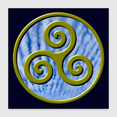 Karma Triskelion Swirl Gold with Clouds Poster - Poster 24x24