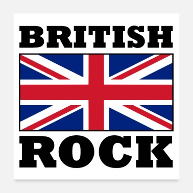 Union Jack British Rock with Union Jack Flag Poster - Poster
